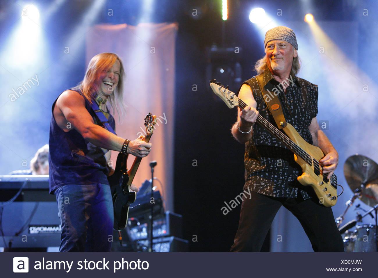 Roger Glover and Steve Morse, Deep Purple, English rock band, Open Air Festival, Muehldorf am Inn, Bavaria, Germany - Stock Image