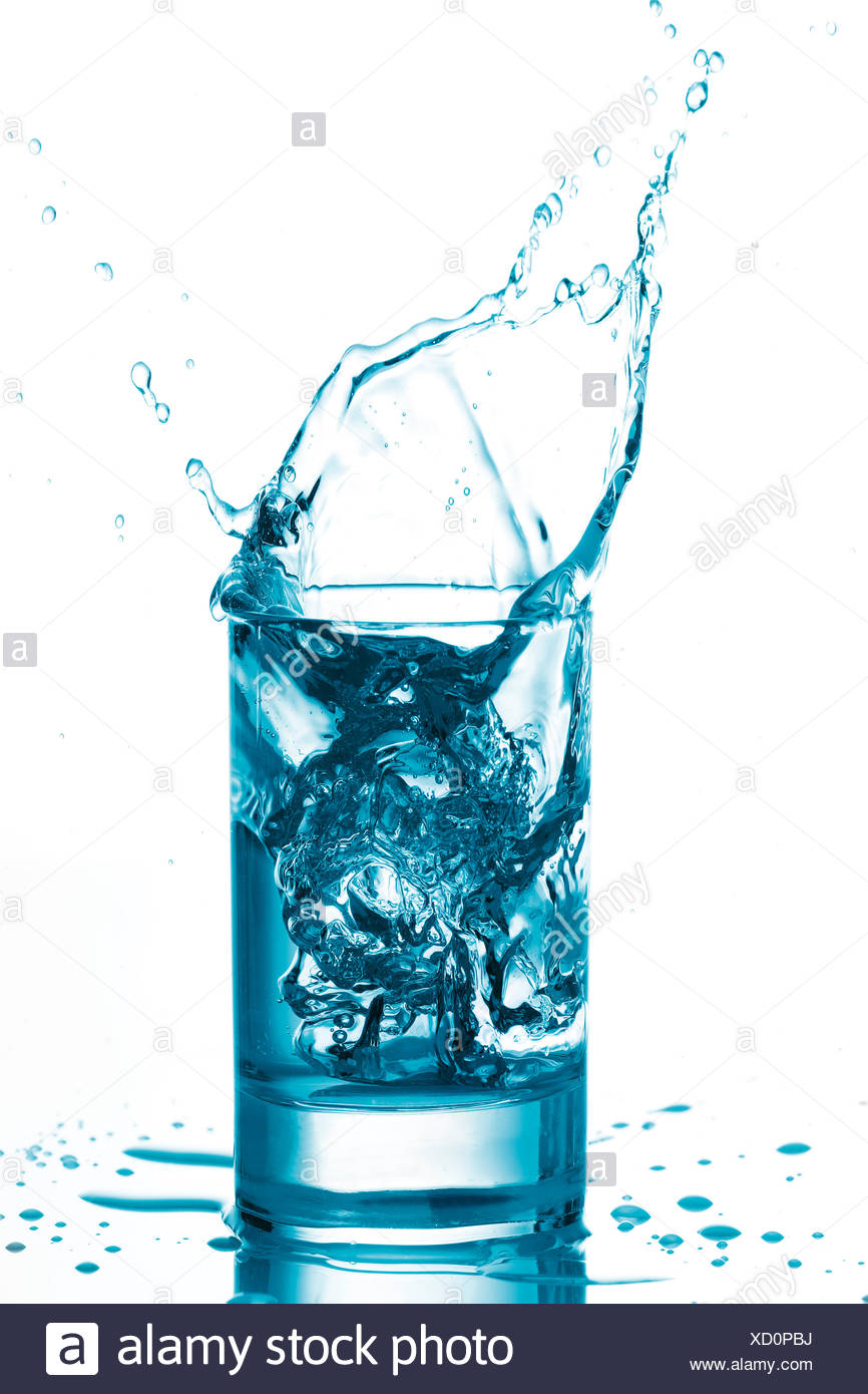 Ice Cube Dropping Into Water Glass Stock Photo 283373990 Alamy