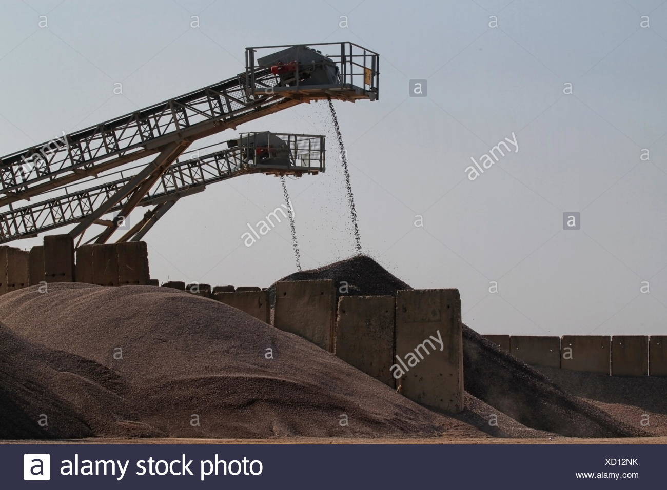 conveyor belt,degradation,gravel pit - Stock Image