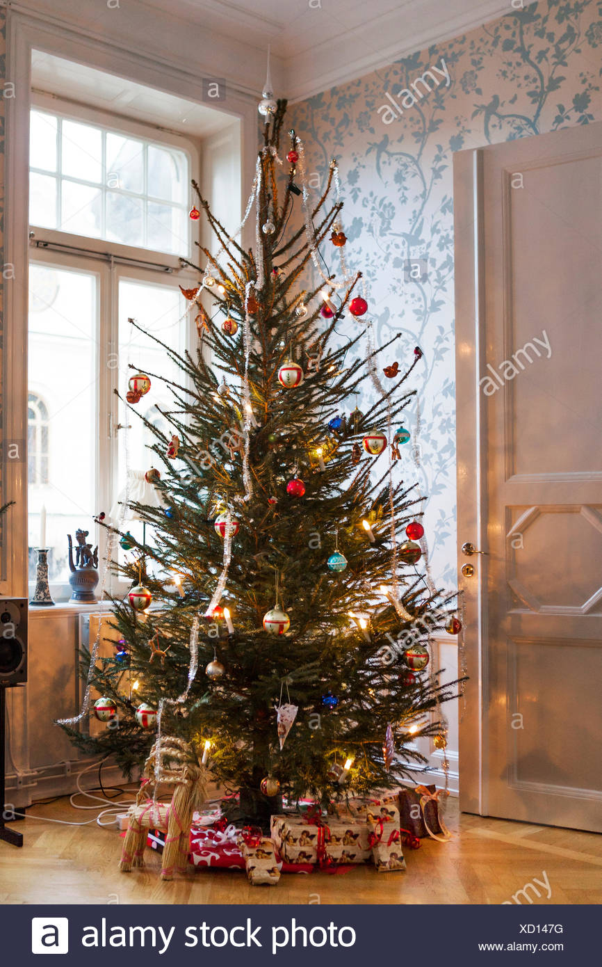 Christmas In Sweden.Sweden Christmas Tree And Presents Stock Photo 283381716