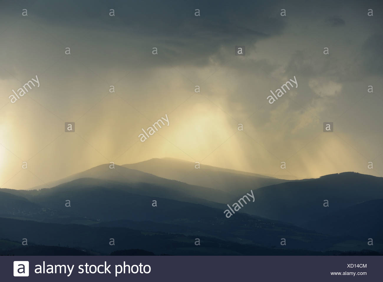 Approaching rain, Hutwisch viewpoint, Lower Austria, Austria, Europe - Stock Image