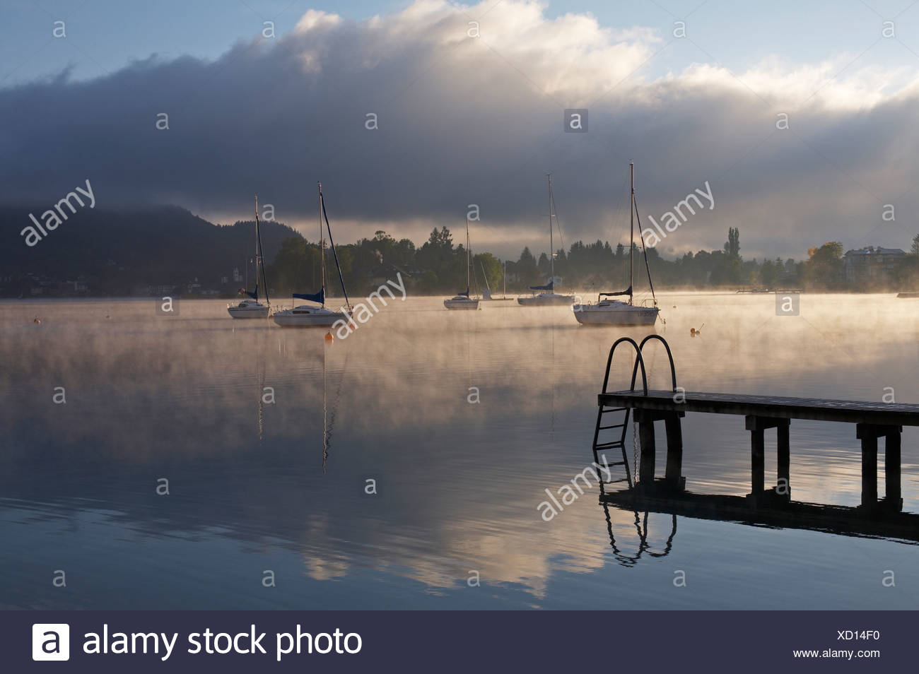 Boats on Woerthersee lake, Poertschach, Carinthia, Austria Stock Photo
