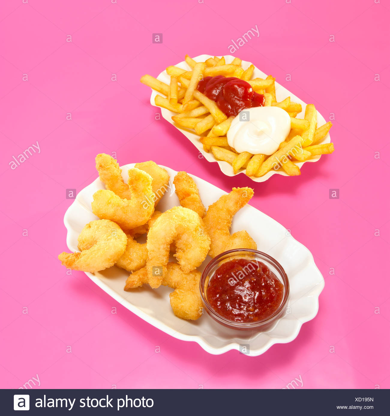 Fried prawns and french fries Stock Photo