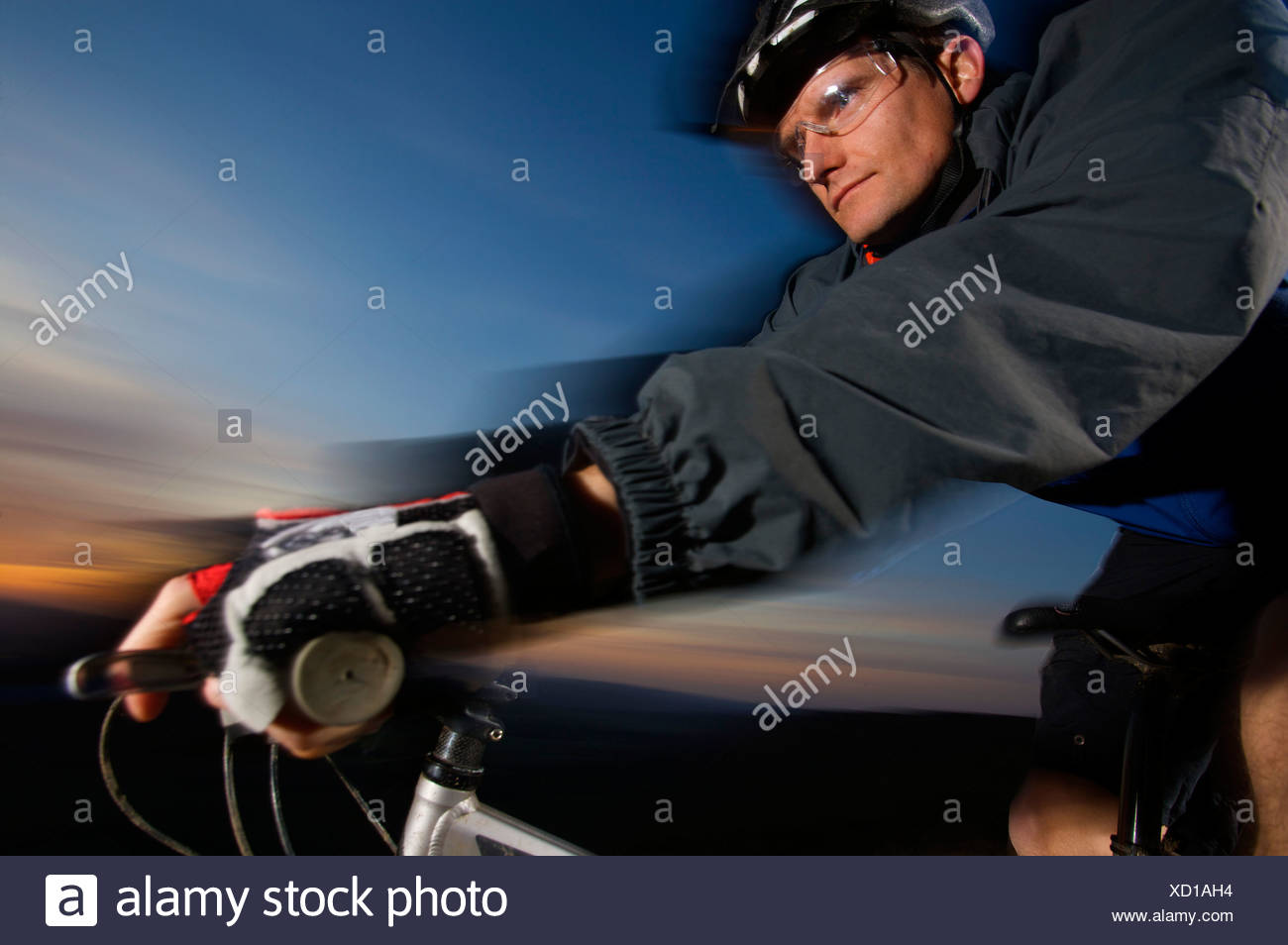 Tight view of a mountain biker. - Stock Image
