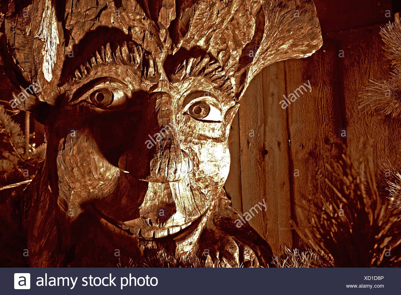 art wood giant ghost monster mysterious dwarf scandinavia carved troll Stock Photo