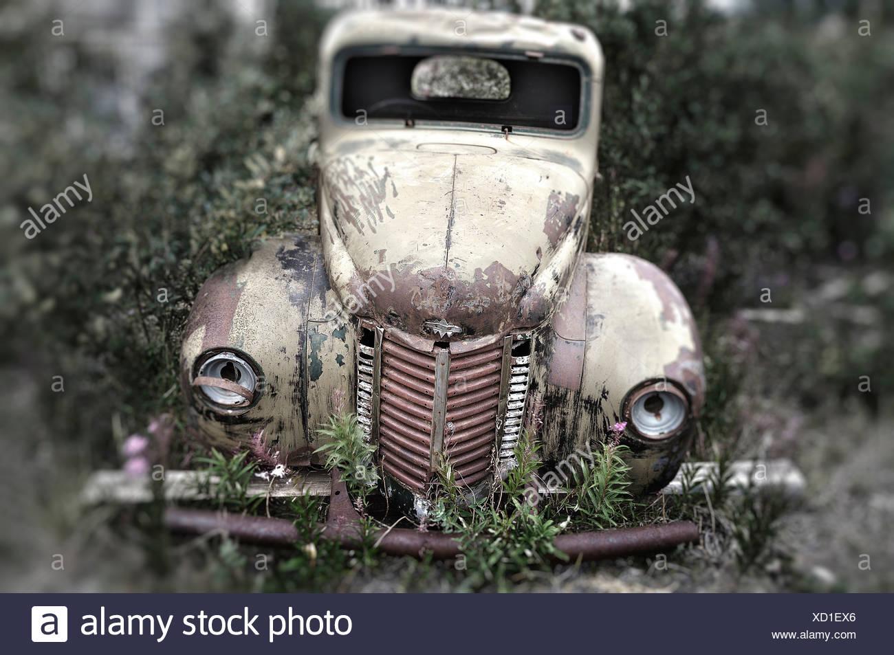 Old abandoned International truck in Destruction Bay, Yukon Territory, Canada - Stock Image