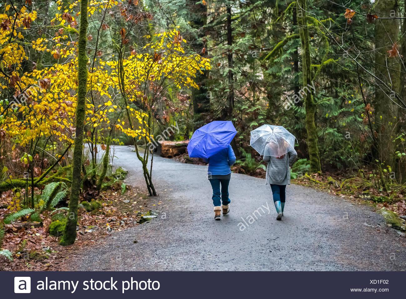 Two women jogging in the rain with umbrellas, Victoria, British Columbia, Canada Stock Photo
