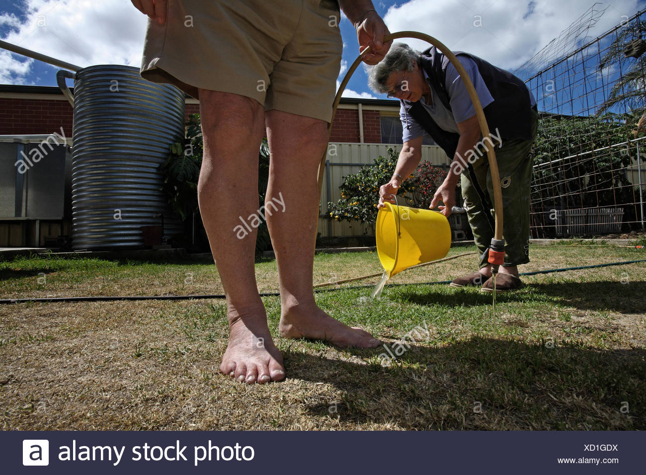 To conserve water during a drought, a couple re-uses their bath water on their lawn. - Stock Image