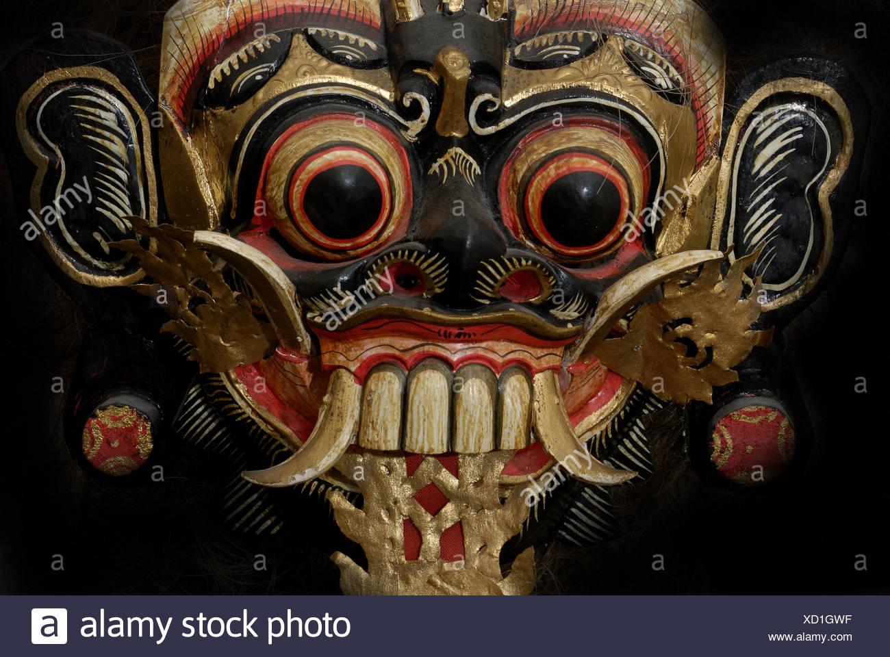 Wodden mask - Bali, Indonesia - Stock Image