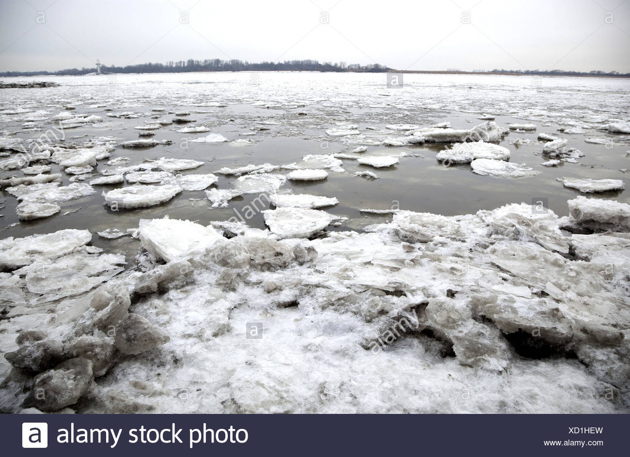 The Elbe, pack ice, Stock Photo