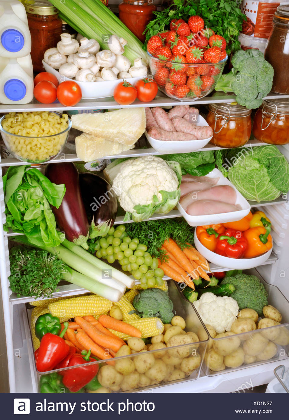 CONTENTS OF REFRIGERATOR - Stock Image