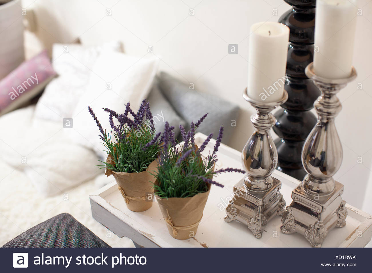 Decoration with candle holders and two potted plants at living room - Stock Image