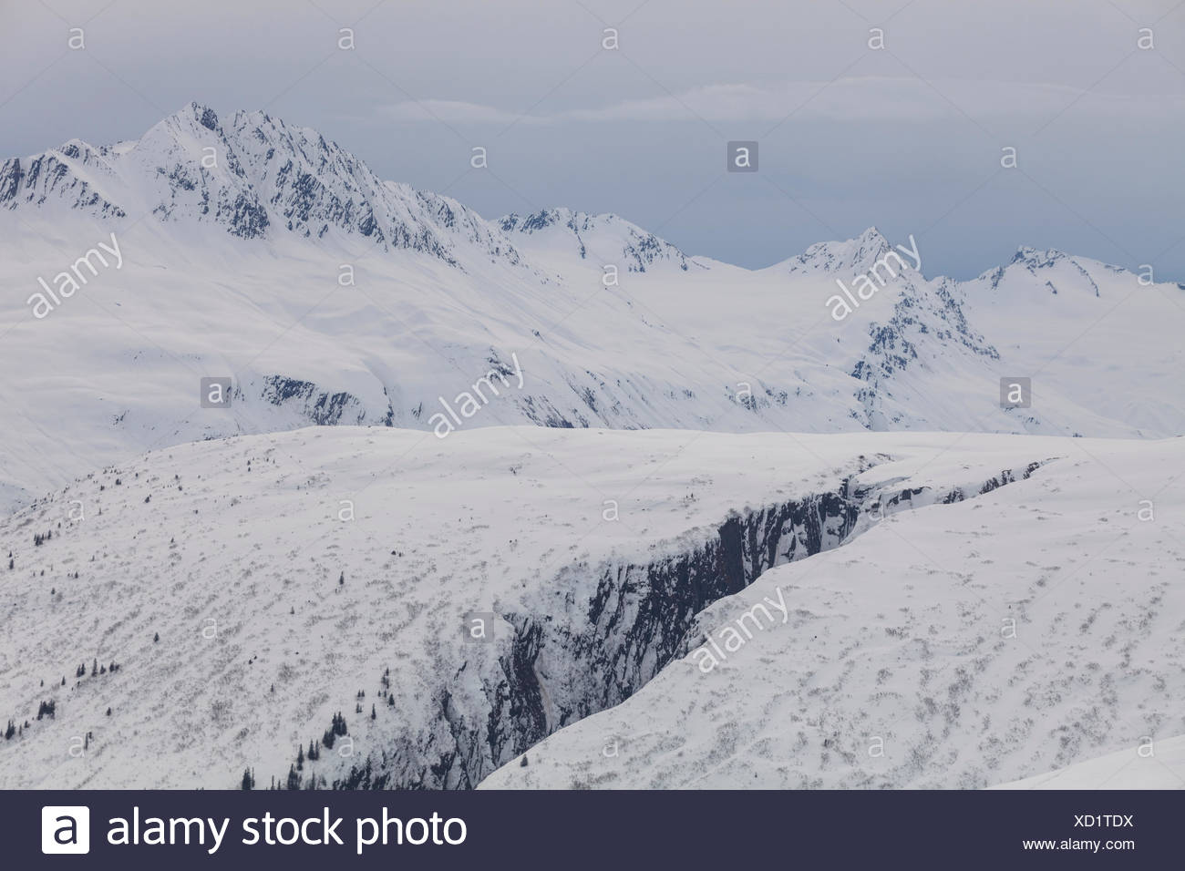 View of Bench Creek and the Chugach Mountains from Thompson Pass, Alaska. - Stock Image