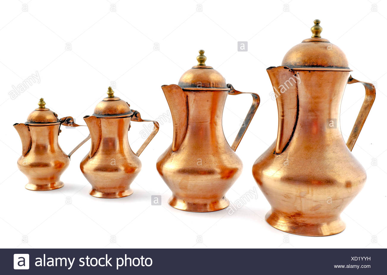 Old fashioned style copper coffeepot Stock Photo