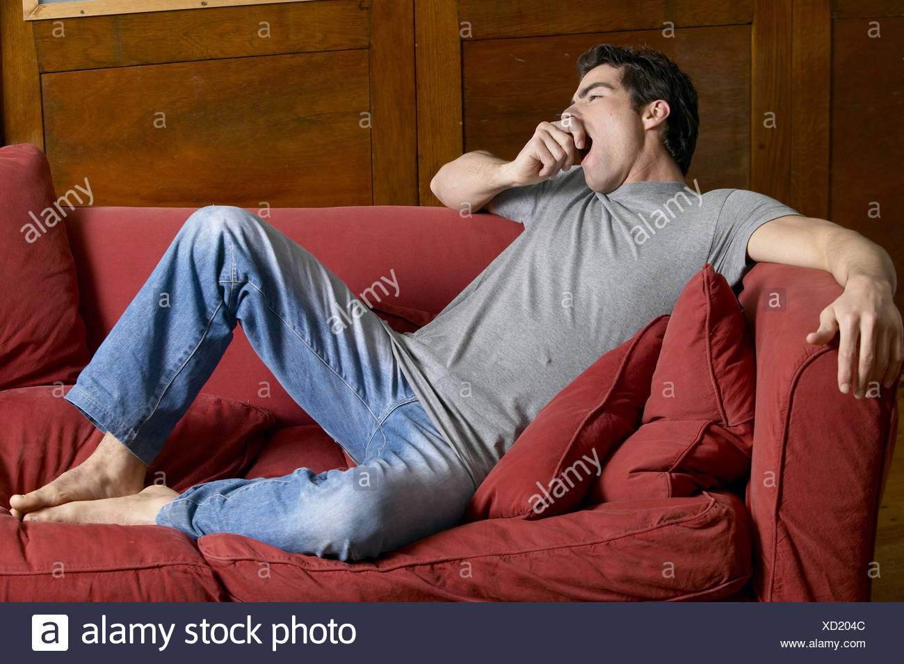 Male dark brown hair wearing grey t shirt and faded blue ...