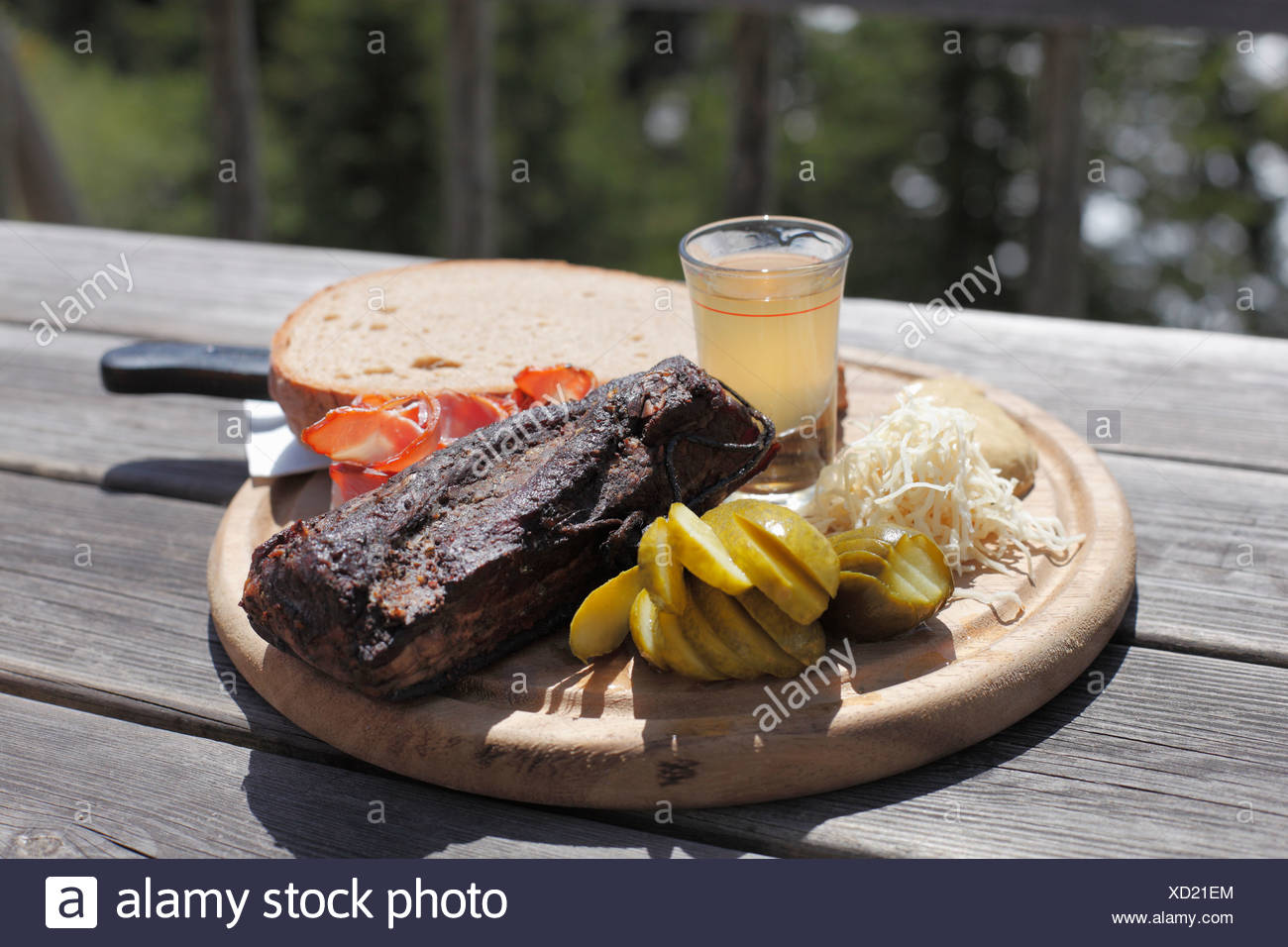 Bacon snack at Gfoelleralm restaurant, Upper Stryria, Styria, Austria, Europe - Stock Image