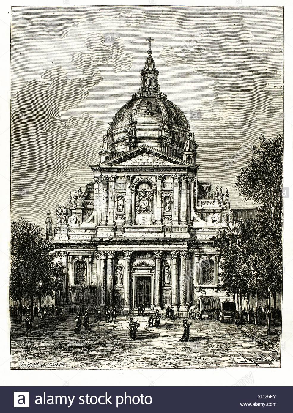Sorbonne University at Paris (19th century), France - Stock Image