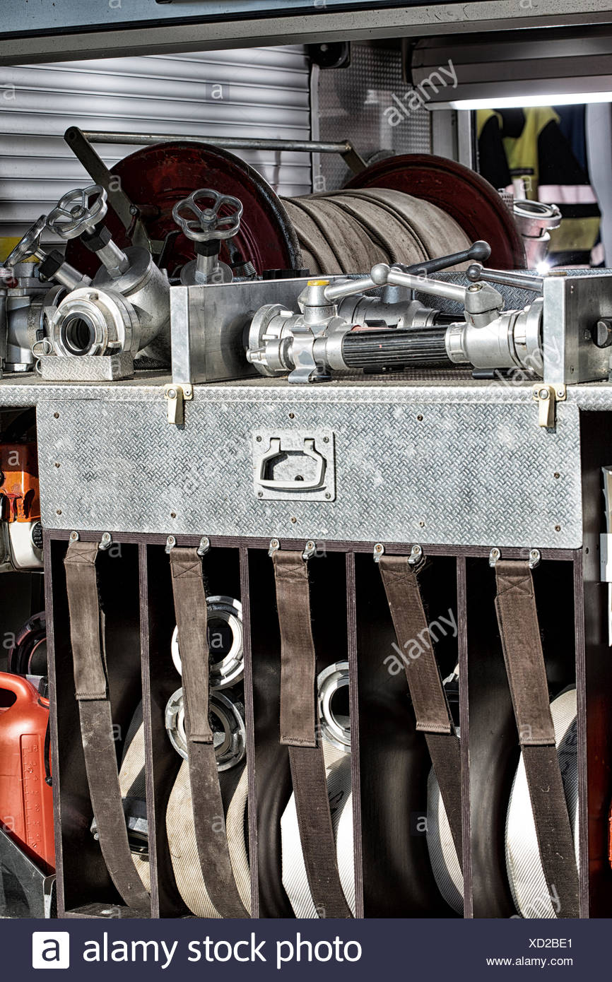 fire hoses and nozzles Stock Photo