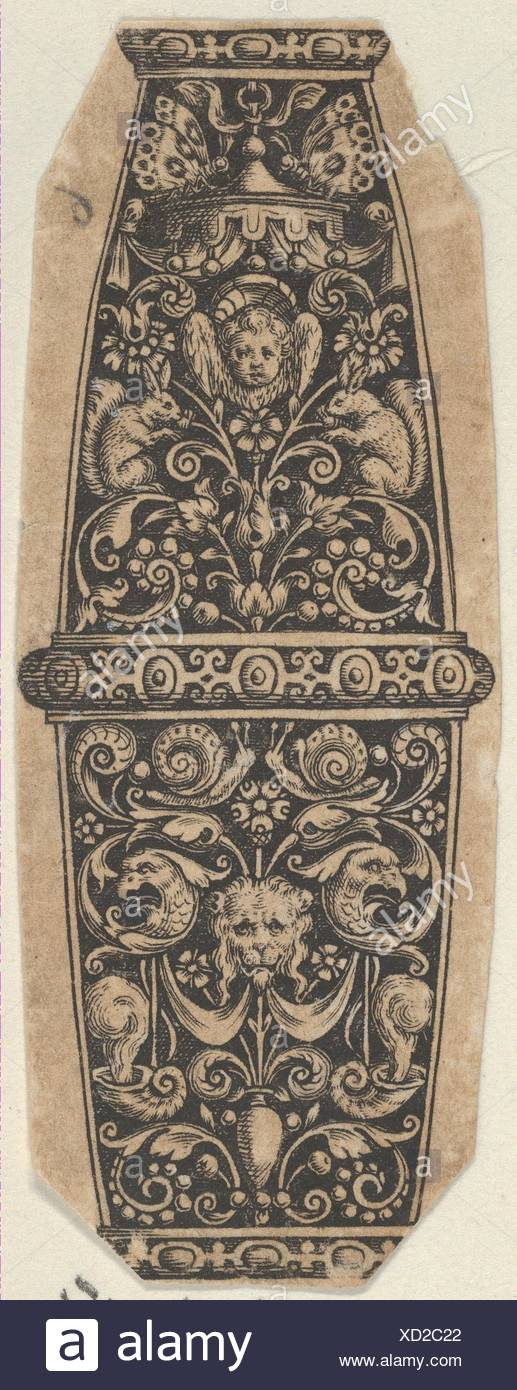 Design for a Sword or Dagger Handle with Putto-Head and Lion's-Head Masks. Artist: Theodor de Bry (Netherlandish, Liège 1528-1598 Frankfurt); Date: - Stock Image