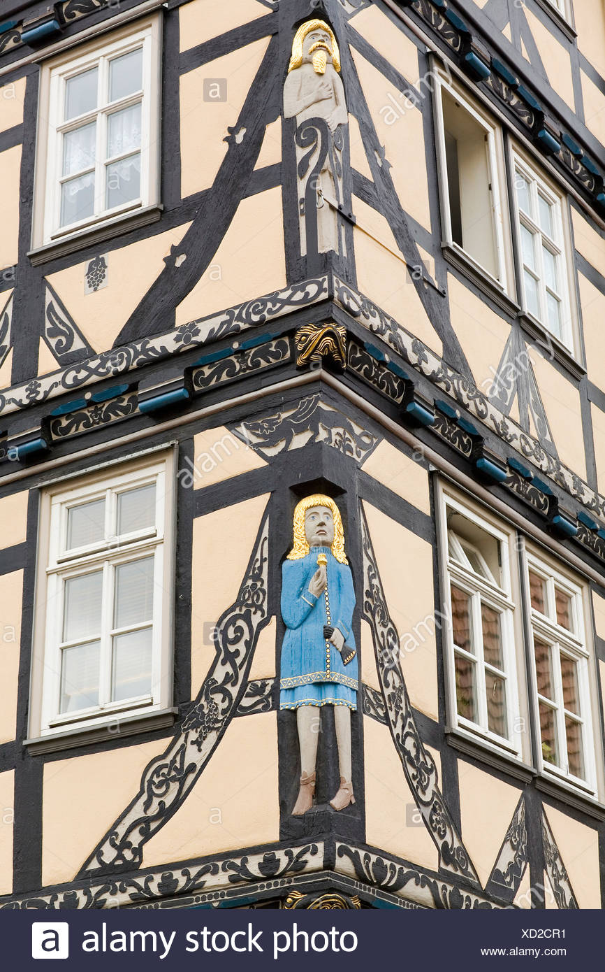 Figures and ornaments on the Raiffeisen-House, Eschwege, Hesse, Germany - Stock Image