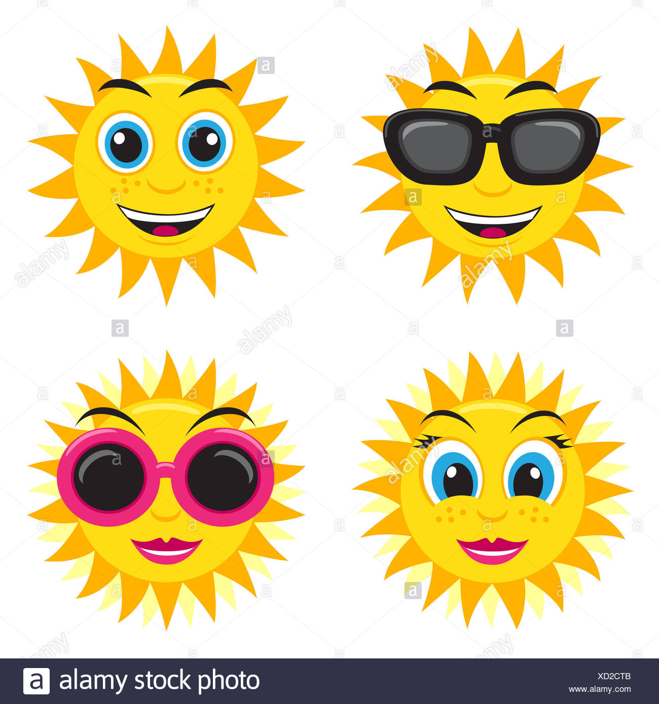 Illustration of the he and she sun with glasses and different face expressions - Stock Image