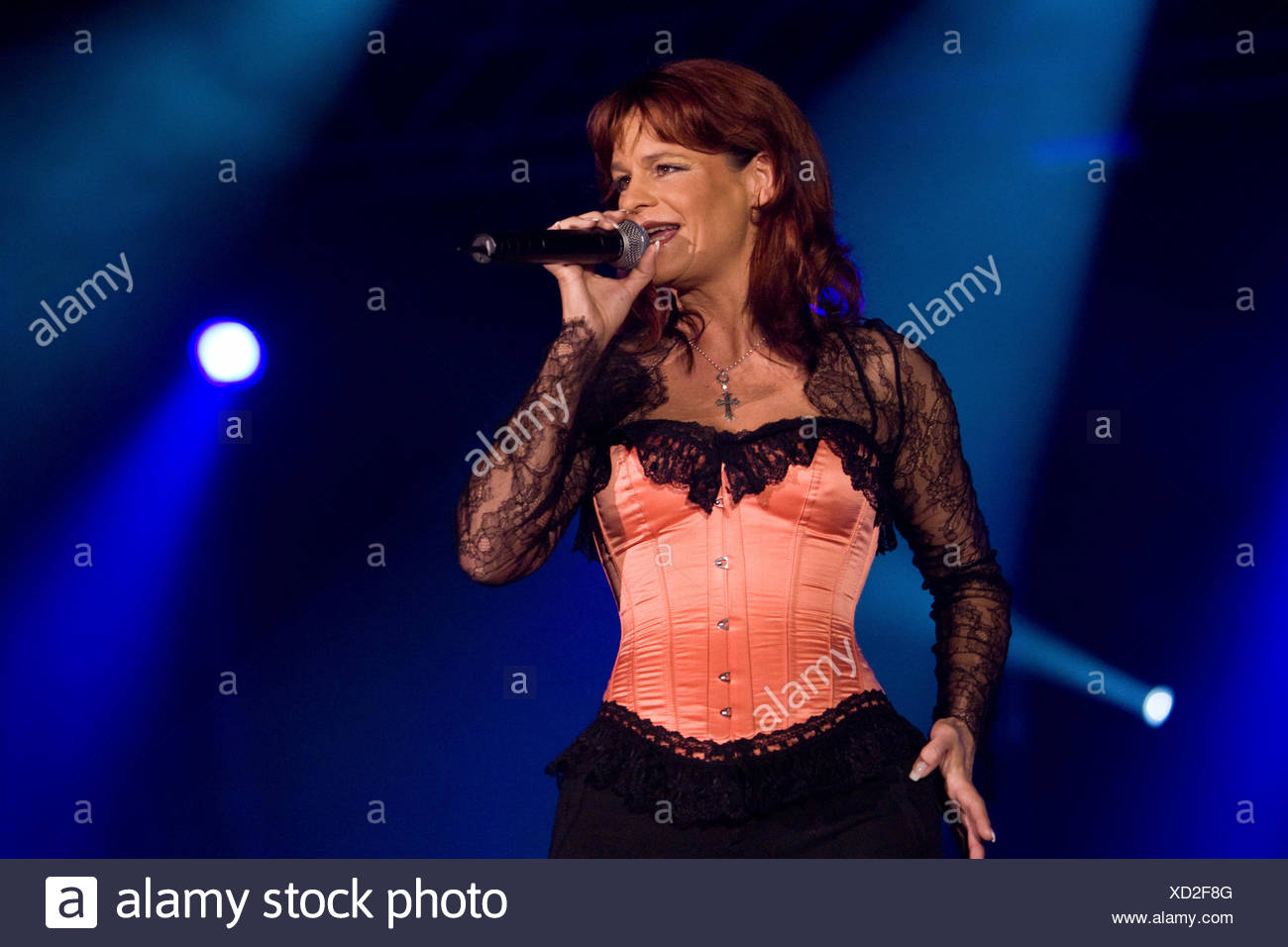 German pop singer Andrea Berg live in the Sursee civic hall, Sursee, Switzerland Stock Photo