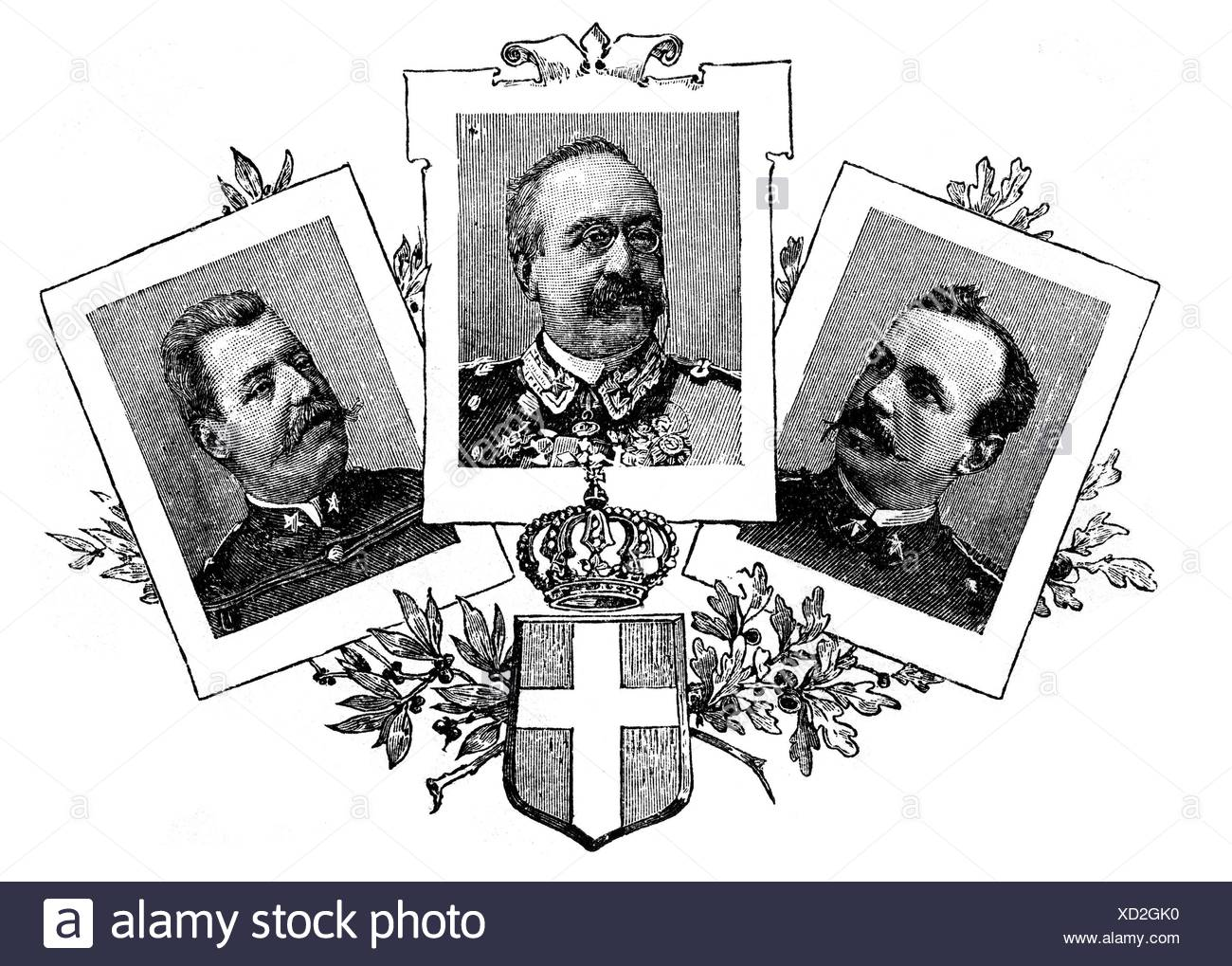 Baratieri, Oreste, 13.11.1841 - 8.8.1901, Italian general, portrait, with portraits of two other officers who took part in the First Italo-Ethiopian War, wood engraving, late 19th century, Additional-Rights-Clearances-NA - Stock Image