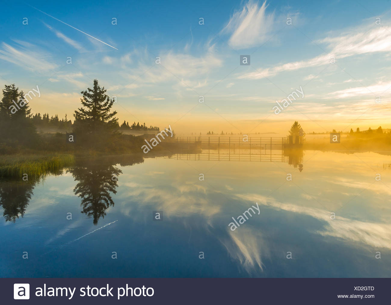 Calm landscape with reflections in river - Stock Image