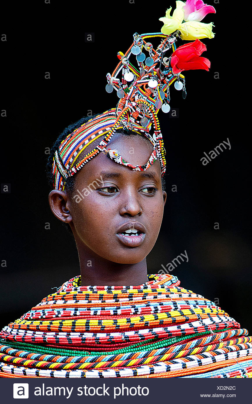 Samburu woman with traditional headgear and necklaces, portrait, Kenya - Stock Image