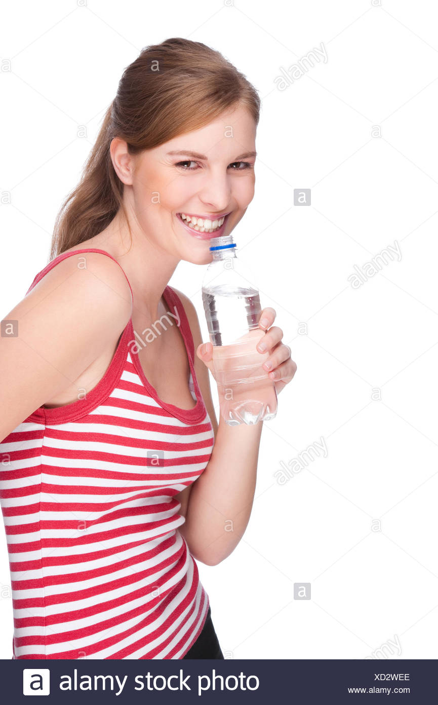 woman with water bottle - Stock Image