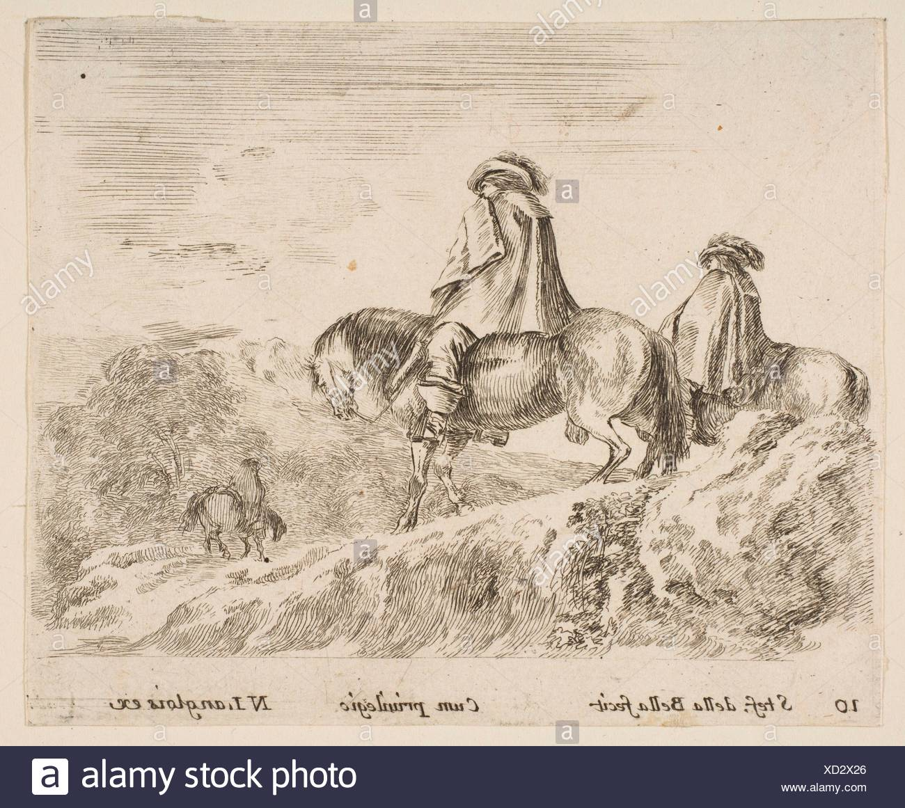 Plate 10: two horsemen descending a mountain at left, another horseman to right in background, from 'Diversi capricci'. Series/Portfolio: 'Diversi - Stock Image