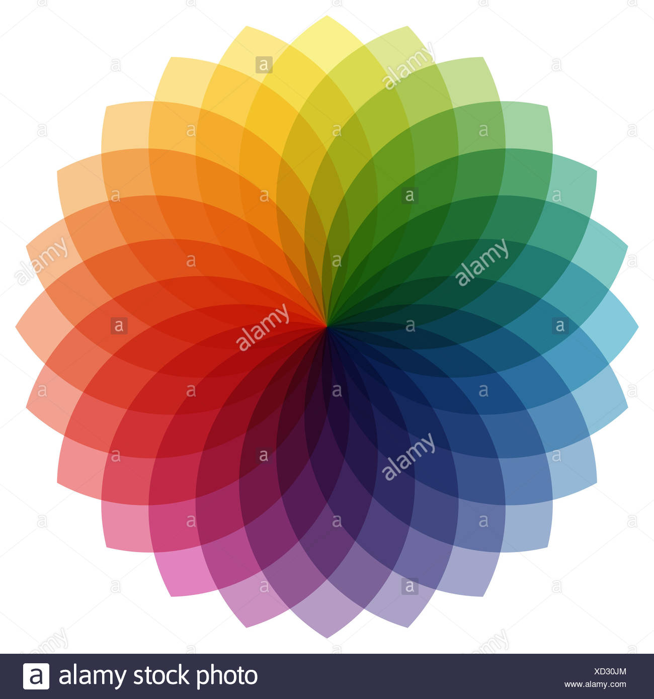 illustration of printing color wheel with different colors in gradations - Stock Image