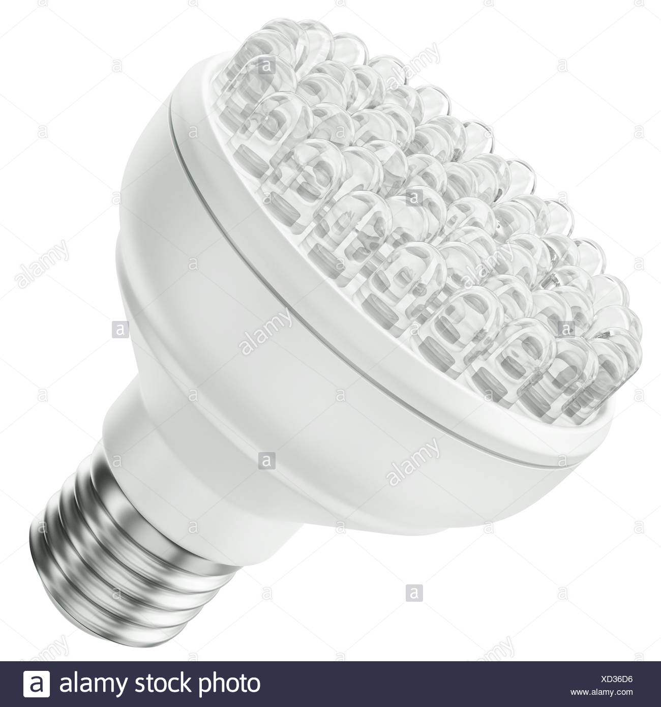 Energy efficient LED bulb isolated on a white background. 3D render. - Stock Image