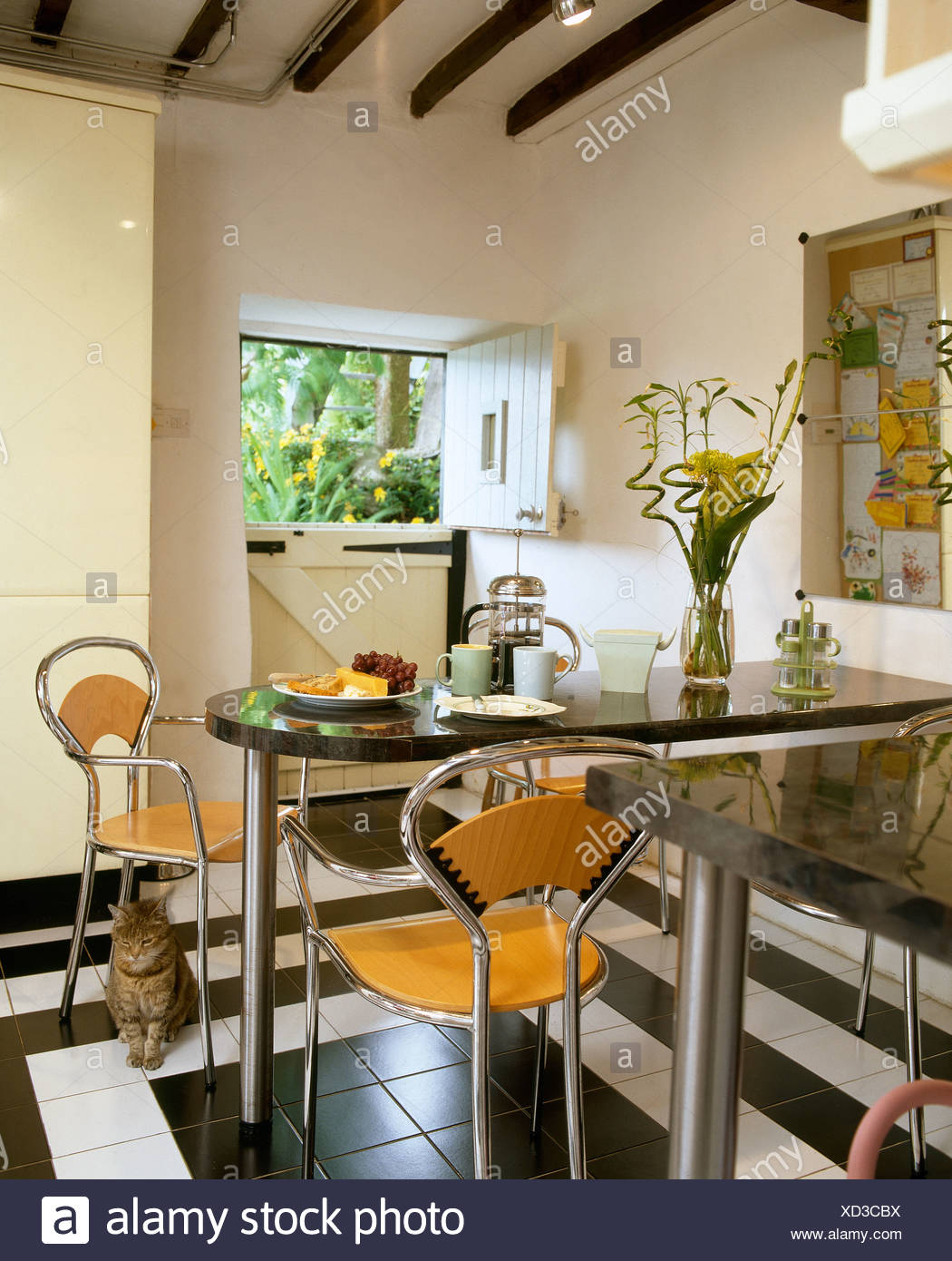 Chrome Wood Stools At Granite Steel Breakfast Bar Table In Modern