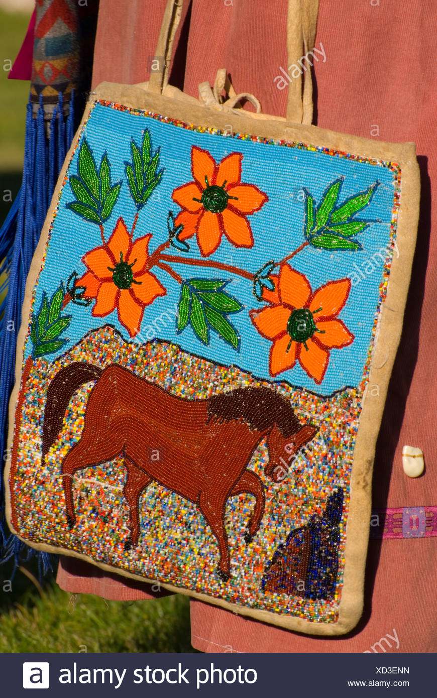 Native American beaded flat bag, Pi-Ume-Sha Treaty Days, Warm Springs Indian Reservation, OR - Stock Image