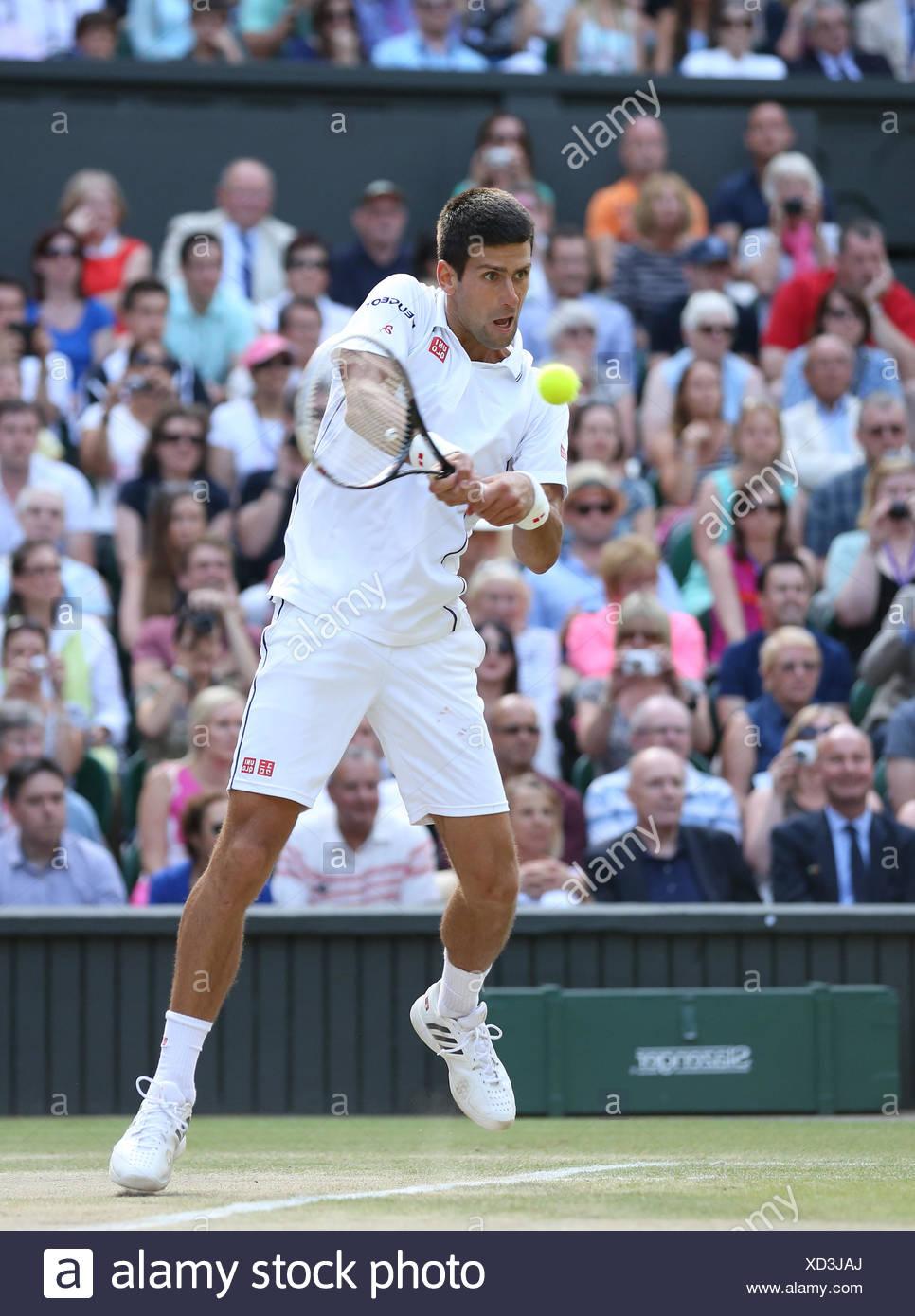 Novak Djokovic, SRB, Wimbledon Championships in 2014, ITF Grand Slam Tennis Tournament, AELTC, All England Lawn Tennis and - Stock Image
