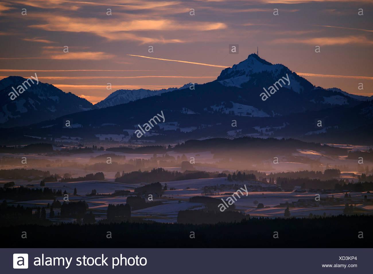 Peak of Mt Grünten with the Alpine foothills at sunset, Auerberg, Ostallgäu, Bavaria, Germany Stock Photo
