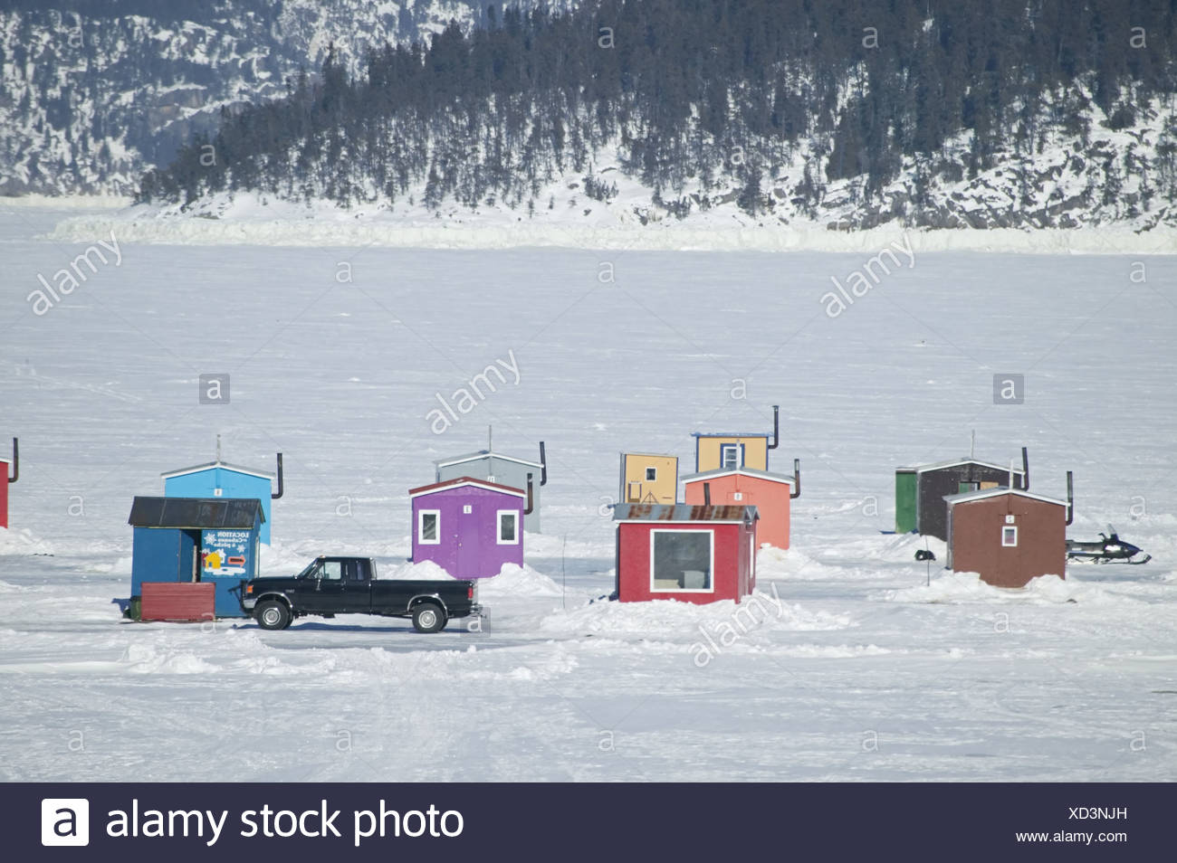 Canada Quebec Saguenay fjord fisher-alms Pick-up North America Saguenay-St. Lawrence Marine park lake Saint Jean houses little - Stock Image