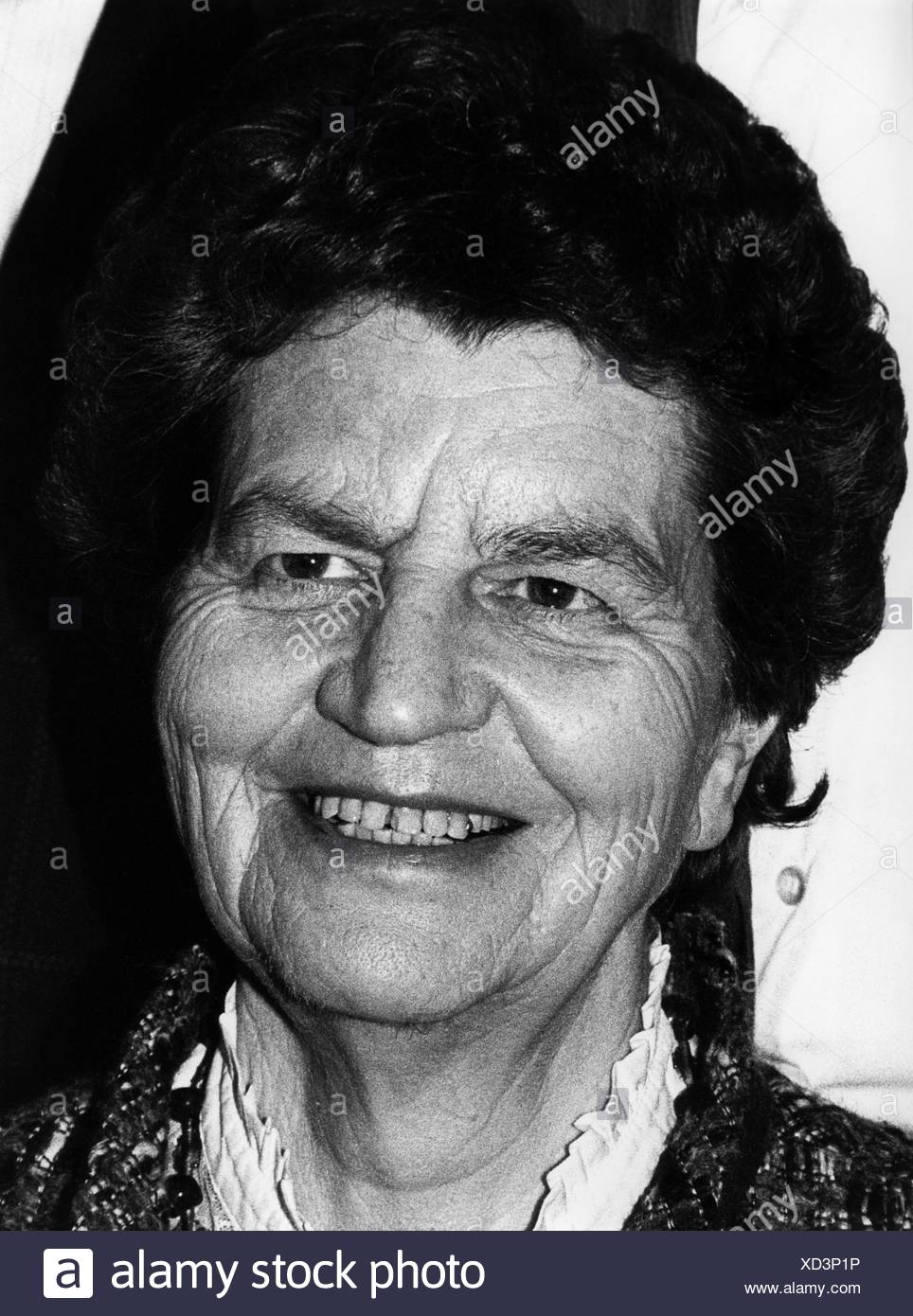 Funcke, Liselotte, 20.7.1918 - 2.8.2012, German politician (FDP), Federal Commissioner for Foreigners, portrait, Hanover, fair, 17.4.1985, , Additional-Rights-Clearances-NA - Stock Image