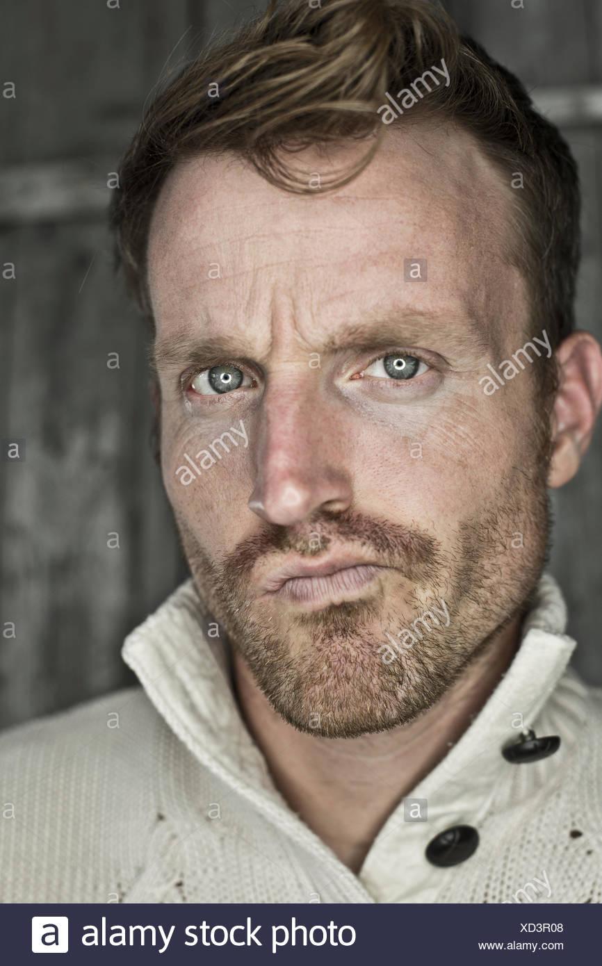 Portrait of critical man - Stock Image