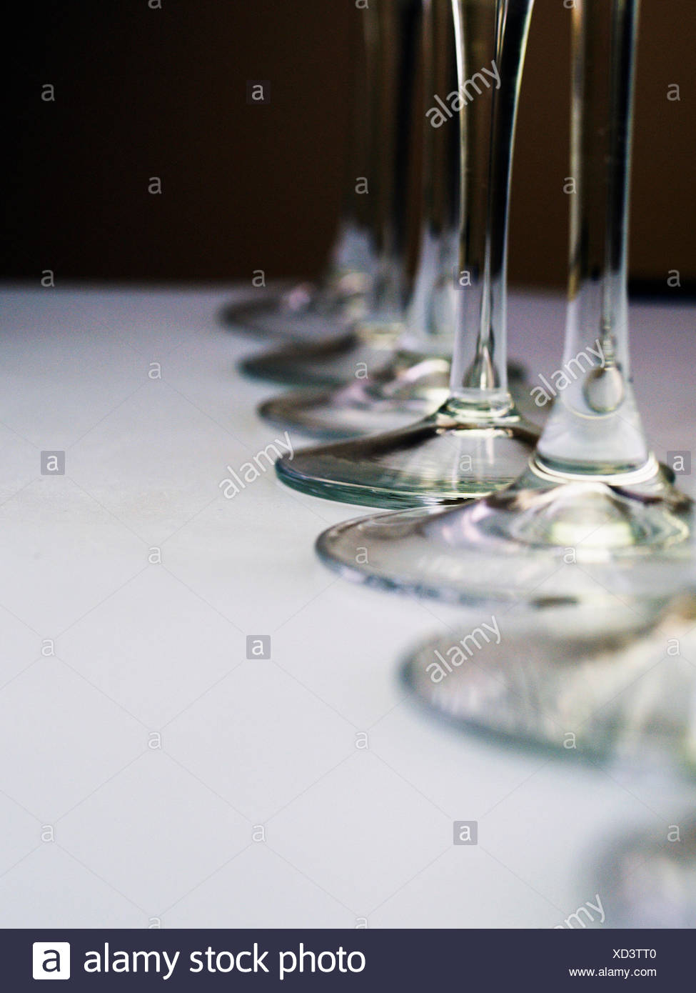 Champagne Flute Stems - Stock Image
