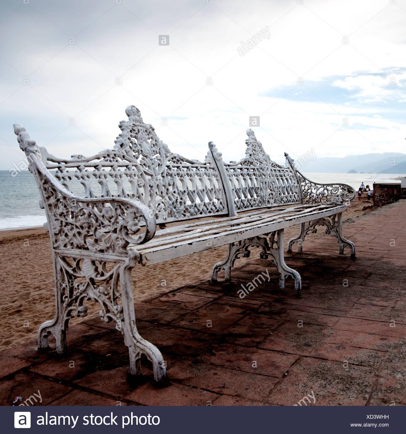 Puerto Vallarta, Mexico; Ornate bench - Stock Image