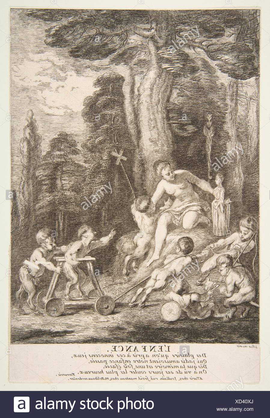 Adolescence. Artist: Claude Gillot (French, Langres 1673-1722 Paris); Artist: Engraved by Jean Audran (French, Lyons 1667-1756 Paris); Date: n.d; - Stock Image