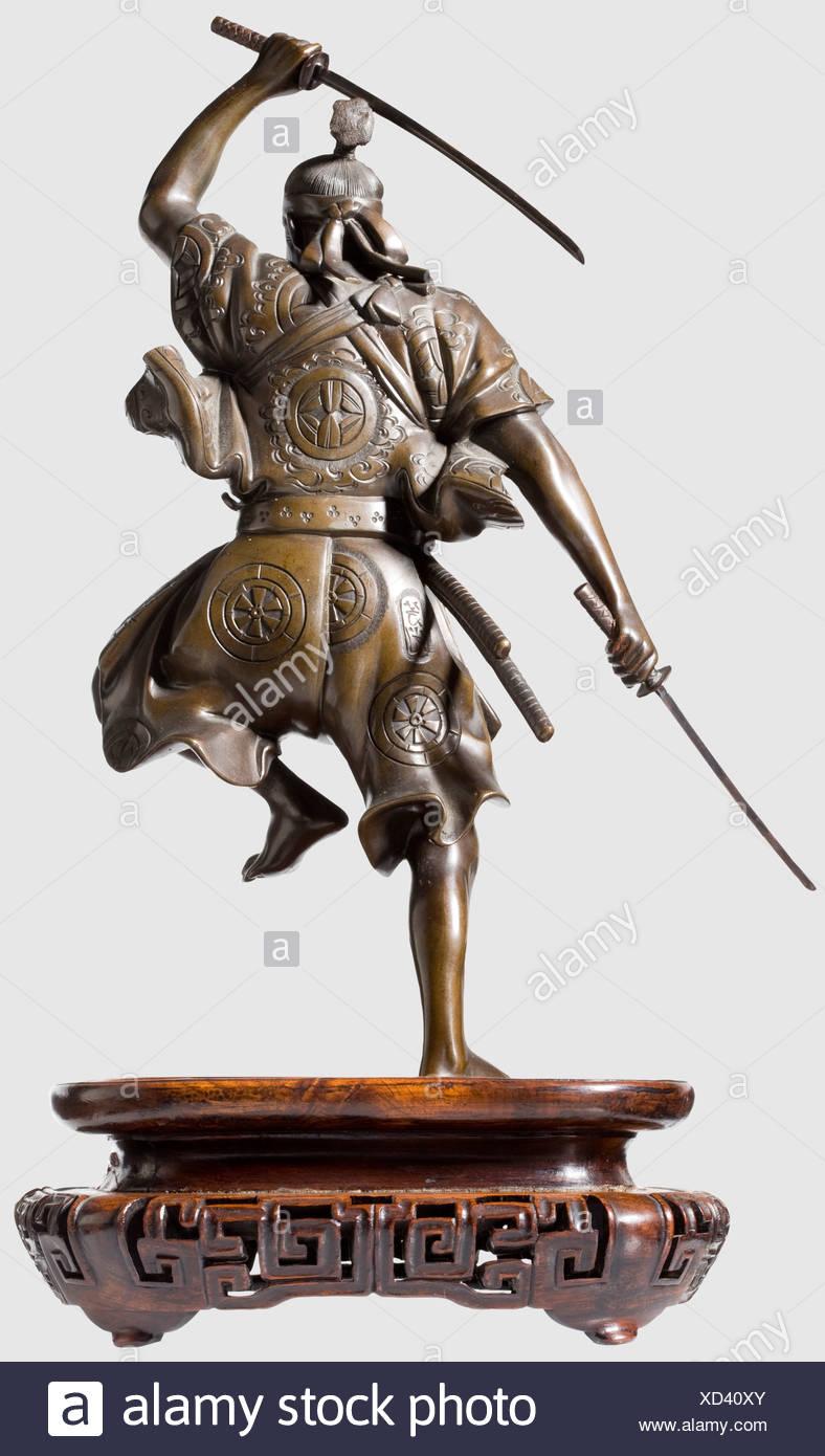 a figure of a fighting samurai japan meiji period bronze with