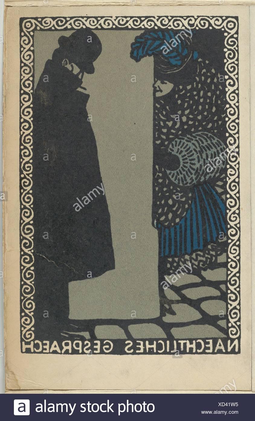 Nightly Conversations (Naechtliches Gespraech). Artist: Moriz Jung (Austrian (born Czechoslovakia) Moravia 1885-1915 Manilowa (Carpathians)); - Stock Image