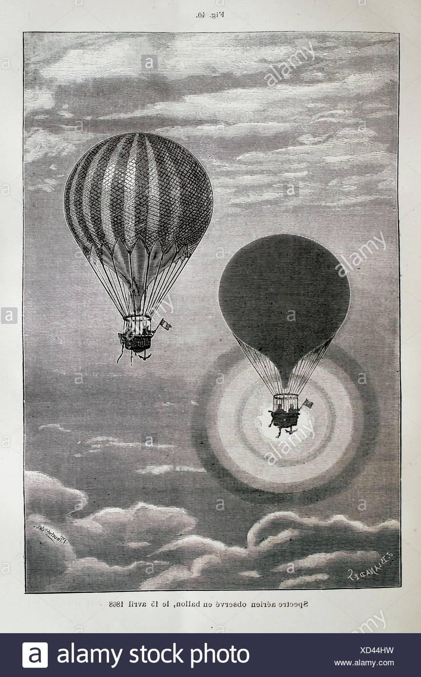 ´Spectre aérien observé en ballon le 15 avril 1868 ´, ´L´Astronomie´ journal by Camille Flammarion, 1883 - Stock Image