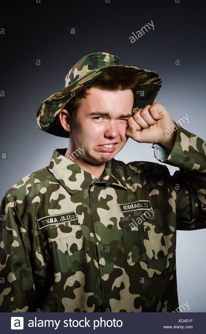Funny soldier in military concept - Stock Image