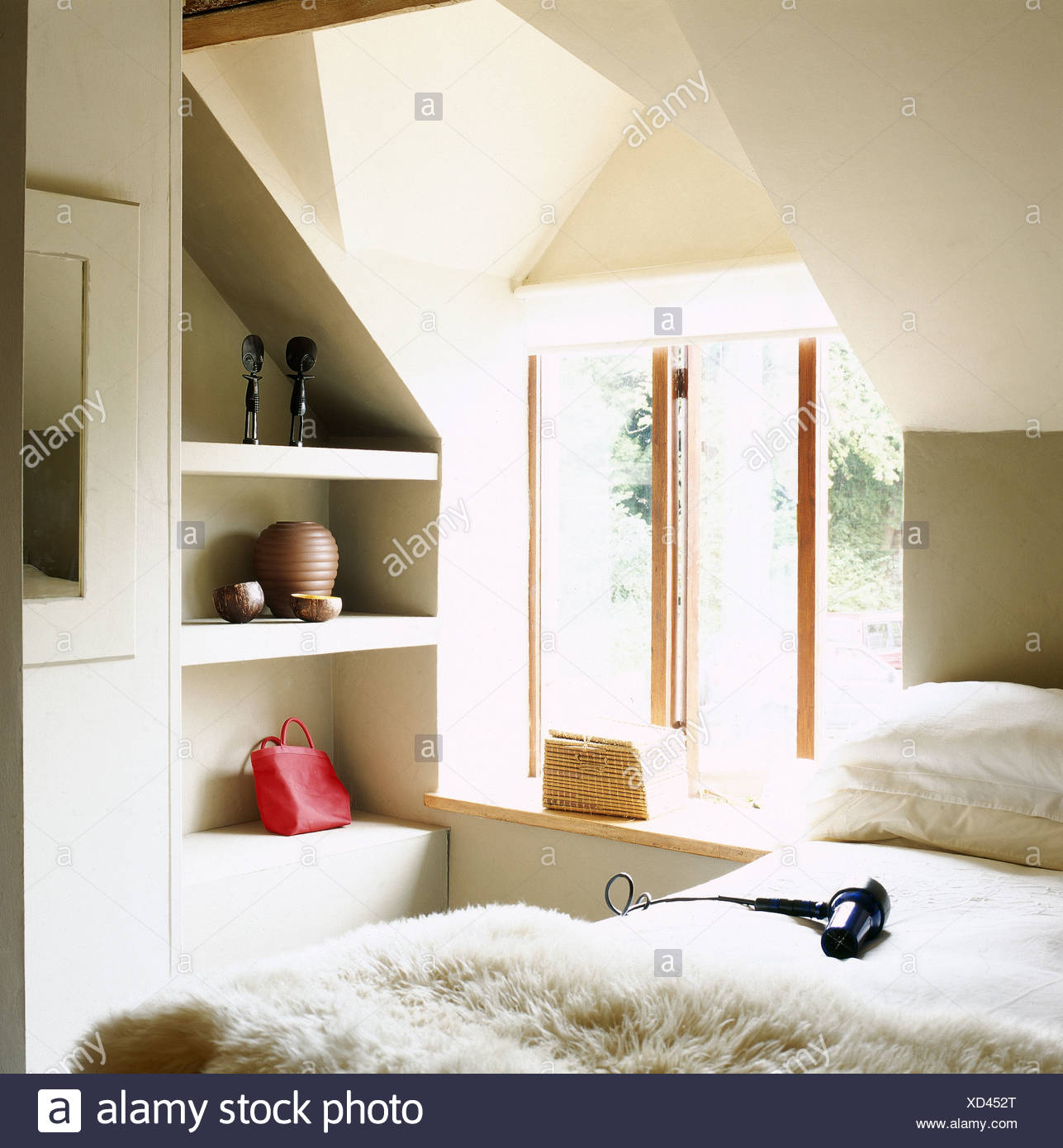 loft style bed queen hairdryer on bed with sheepskin through in modern loft style bedroom open alcove shelving