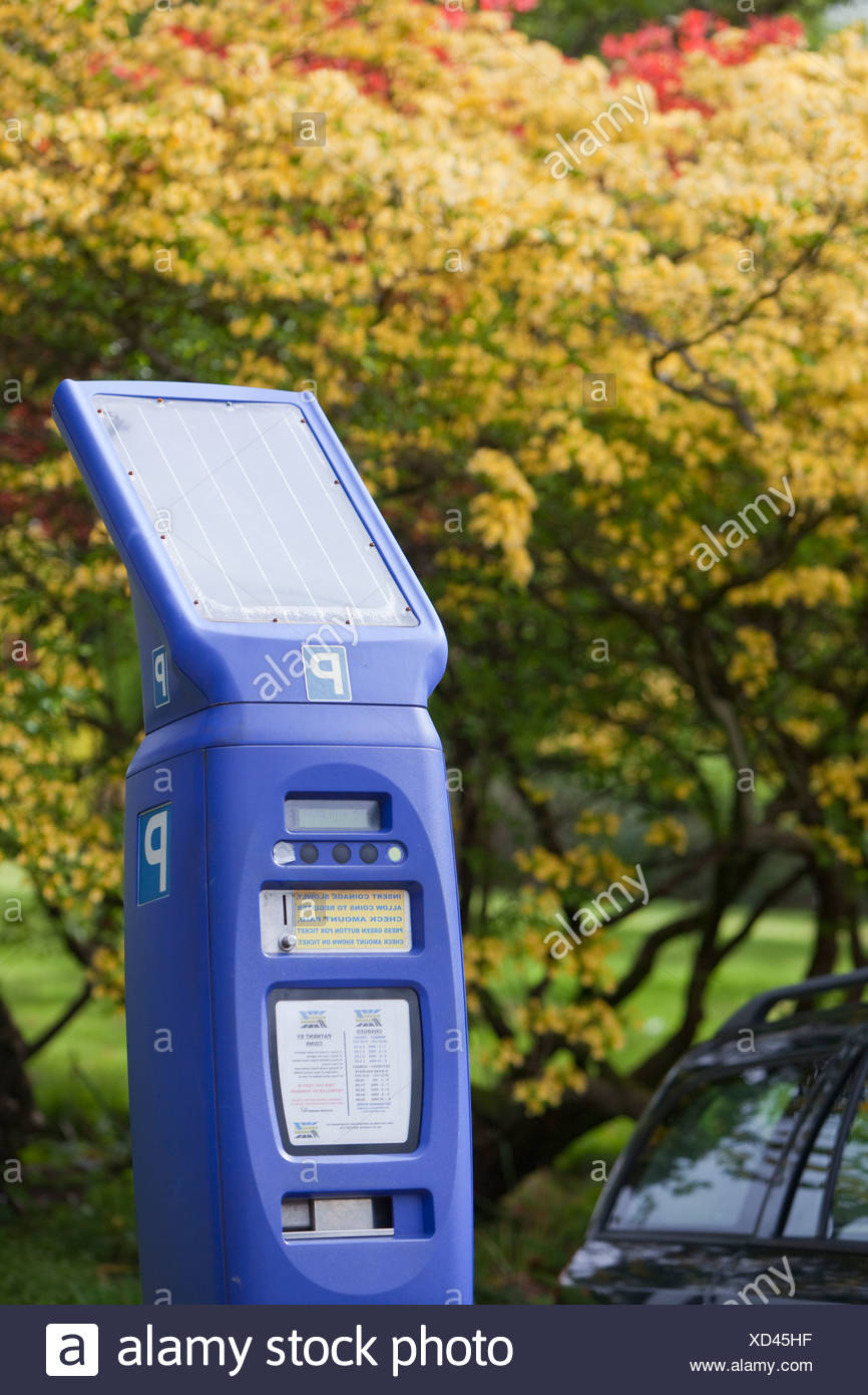A solar powered parking meter in the Grounds of the University of Cumbria Ambleside Campus Cumbria UK - Stock Image
