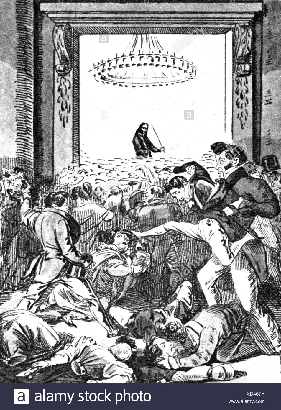 Paganini, Niccolo, 27.10.1782 - 27.5.1840, Italian musician (violinist), half length, during a stage performance, how the Berlins scramble to get a violin player, caricature, Berlin, Germany, 1829, Additional-Rights-Clearances-NA - Stock Image